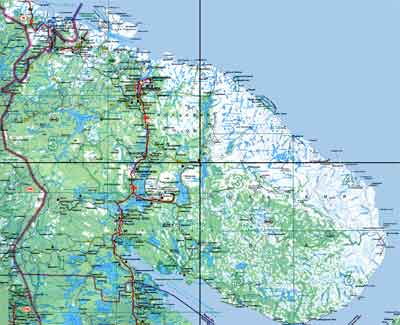 Detailed motoring road map of Kola Peninsula