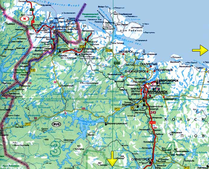 Road map North-west Kola Peninsula