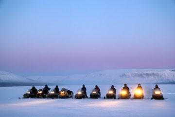 Snowmobile tours Aurora Borealis in Murmansk region
