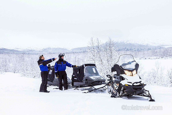 snowmobile kola peninsula murmansk region russian lapland